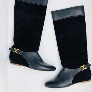 CHLOE Black Suede Leather Gold Buckle Flat Boot 41